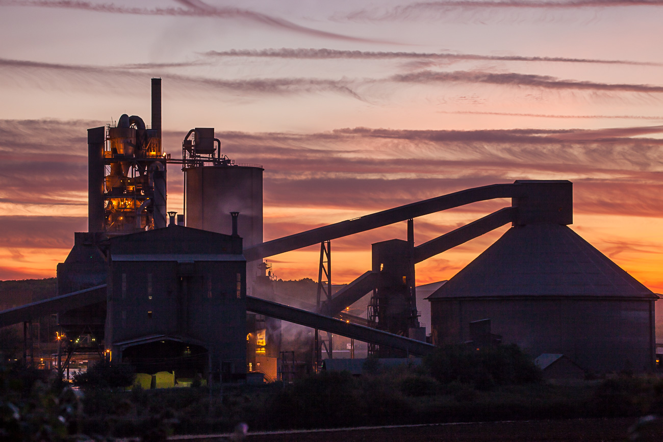 Cement-Works-at-Dusk-by-David-Townshend
